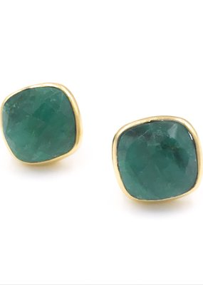Qualita In Argento Italian Sterling Silver Gold Plated With Emerald Stones