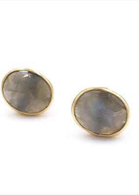 Qualita In Argento Italian Sterling Silver Gold Plated With Labradorite Stud Earrings