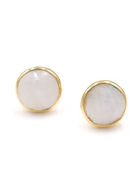 Sterling Gold Plated Moonstone Stud Earrings