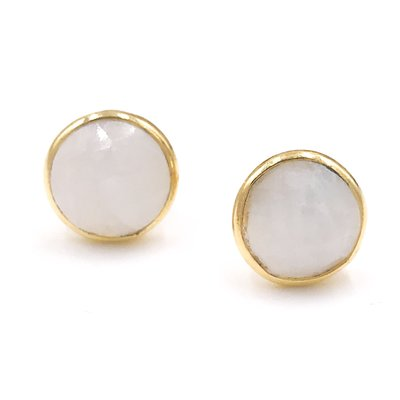 Qualita In Argento Italian Sterling Silver Gold Plated With Moonstone Stud Circle Earrings