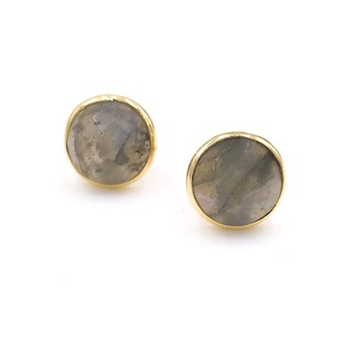 Qualita In Argento Italian Sterling Silver Gold Plated With Labradorite Stud Circle Earrings