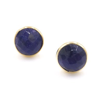 Qualita In Argento Italian Sterling Silver Gold Plated With Lapis Lazuli Stud Circle Earrings