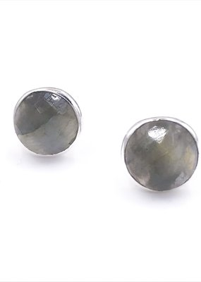 Qualita In Argento Italian Sterling Silver Rhodium Plated With Labradorite Stud Circle Earrings