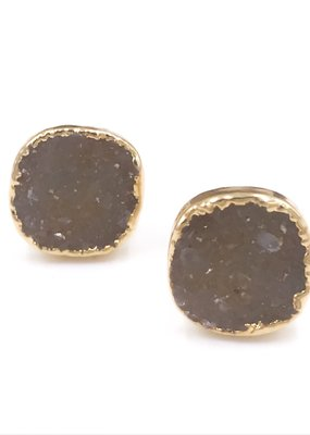 Qualita In Argento Italian Sterling Silver Gold Plated Tan Druzy Stud Earrings