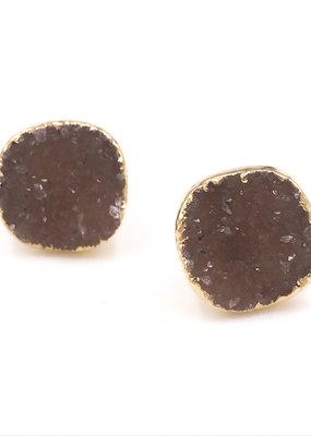 Qualita In Argento Italian Sterling Silver Gold Plated Beige Druzy Stud Earrings