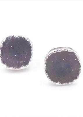 Qualita In Argento Italian Sterling Silver Rhodium Plated Gray Druzy Stud Earrings