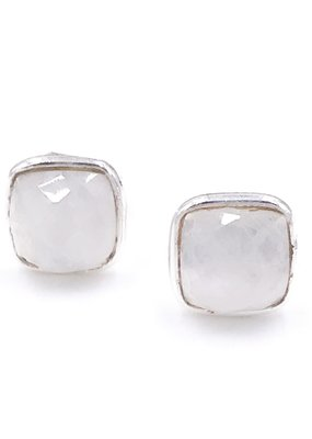 Qualita In Argento Italian Sterling Silver Rhodium Plated Square Moonstone Stud Earrings