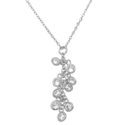Qualita In Argento Italian Sterling Silver Crystal Cluster Necklace
