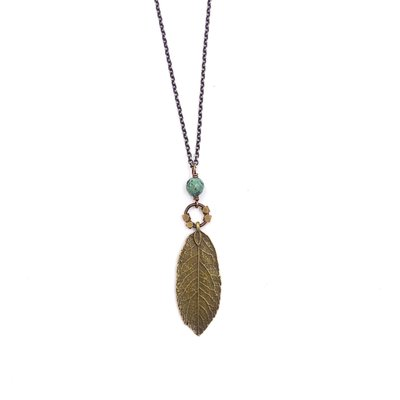 Edgy Petal Green Turquoise Beaded Leaf Necklace on Long Brass Chain
