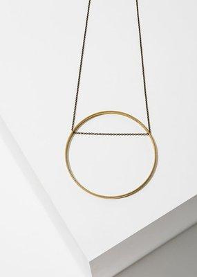 Larissa Loden Horizon Golden Brass Large Circle Necklace
