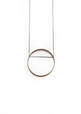 Larissa Loden Horizon Golden Brass Medium Circle Necklace