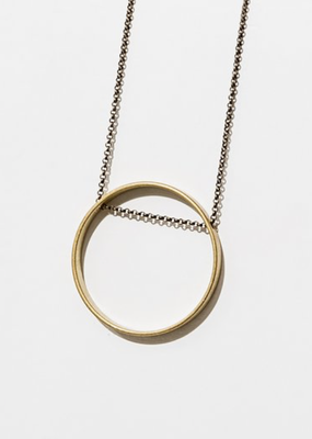Larissa Loden Horizon Golden Brass Small Circle Necklace
