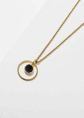"Larissa Loden Brass Circle w Black Druzy 18"" Necklace"