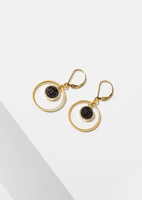 Larissa Loden Brass Hoop Circle w Black Druzy Kamilah Earrings