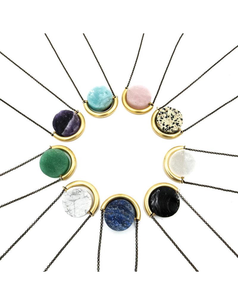 Larissa Loden Rose Quartz Sun & Moon Brass Necklace