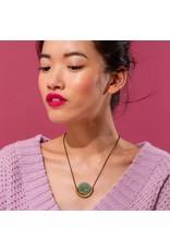 Larissa Loden Clear Quartz Sun & Moon Brass Necklace