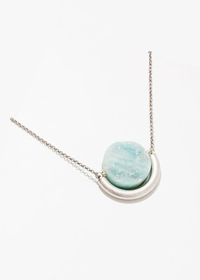 Larissa Loden Amazonite Sun and Moon Silver Necklace