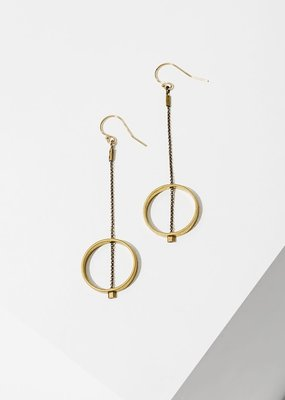 Larissa Loden Brass Threaded Horizon Circle Earrings