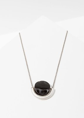 Larissa Loden Onyx Sun and Moon Silver Necklace