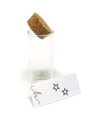 Sterling Silver Open Star Earrings In A Bottle