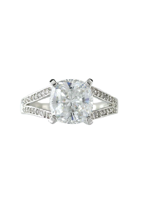 Sterling Silver Open Square CZ Ring