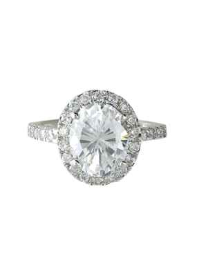 Sterling Silver Oval Halo CZ Ring