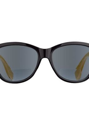 Blue Planet Island Reader Black Onyx & Natural Bamboo w 1.25 Smoke Sun Tinted Bifocal Lens