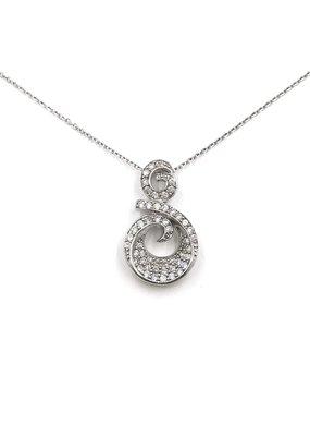 Sterling Silver Swirl Necklace w/ CZ
