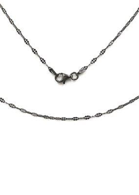 Qualita In Argento Italian Sterling Silver Gunmetal 18 inch Chain