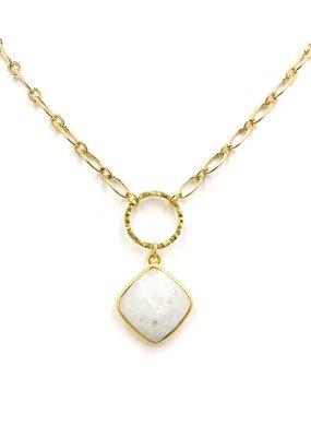 iiShii Designs Double Circle Hanging Mystic Moonstone Necklace