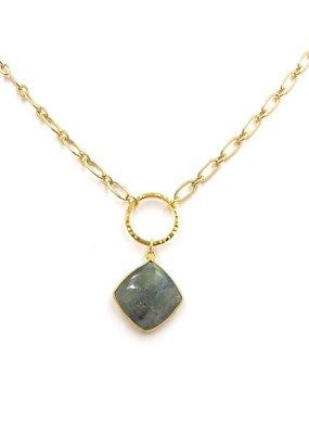 iiShii Designs Double Circle Hanging Labradorite Necklace