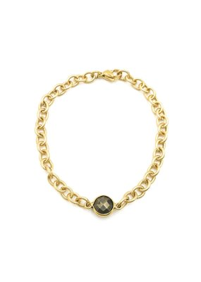 iiShii Designs Mixed Metal Gold Plated Pyrite Stone Bracelet