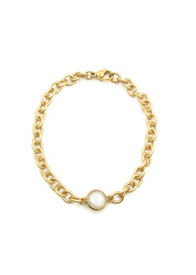 iiShii Designs Gold Plated White Mystic Agate Bracelet