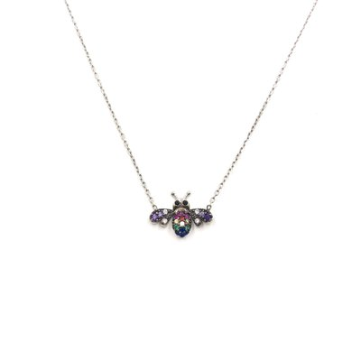 iiShii Designs Sterling Silver Rainbow Bee CZ Necklace