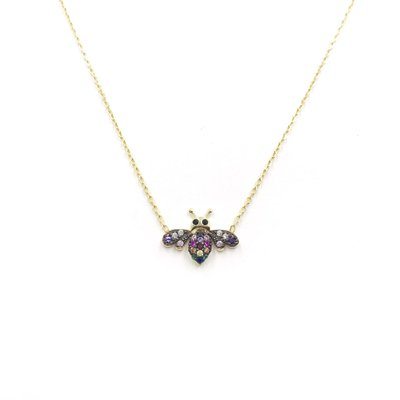 iiShii Designs Sterling Silver Gold Plated Rainbow Bee CZ Necklace