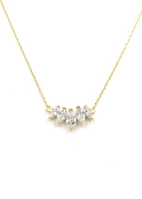 iiShii Designs Sterling Silver Gold Plated 5 Marquis Necklace