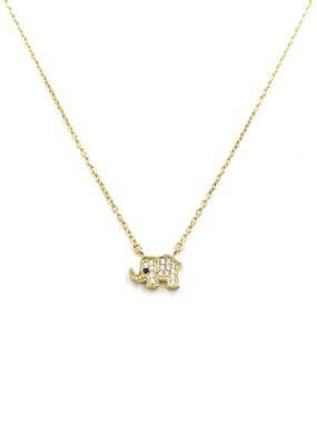 iiShii Designs Sterling Silver Gold Plated CZ Elephant Necklace