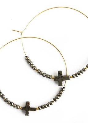 Lenny & Eva Faith Over Fear Cross Hoop Earrings Pyrite