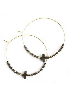 Lenny & Eva Faith Over Fear Cross Hoop Earrings Pyrite