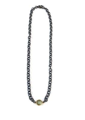 iiShii Designs Black Mixed Metal Choker w/ Labradorite Stone