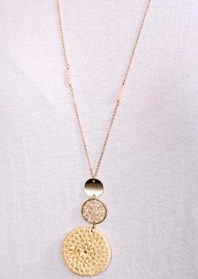 Caroline Hill Triple Drop Beaded & Wicker Long Necklace