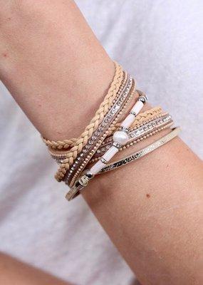 Caroline Hill Multi Strand Tan Leather & Pearl Magnetic Wrap Bracelet