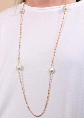 Long Beaded w Pearl Champagne Necklace