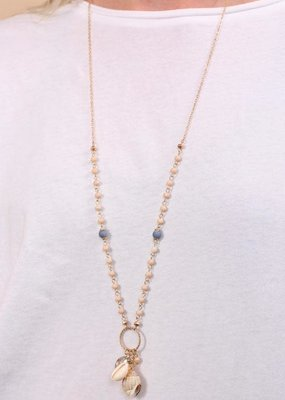 Caroline Hill Long Natural Bead & Shell Charm Necklace