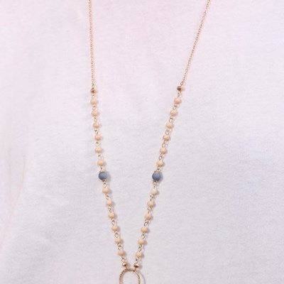 Long Natural Bead & Shell Charm Necklace