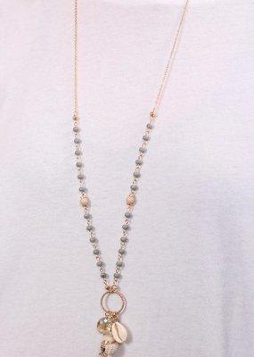 Caroline Hill Long Grey Bead & Shell Charm Necklace