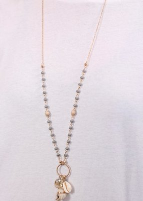 Long Grey Bead & Shell Charm Necklace