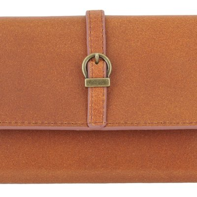 Most Wanted USA Slim Tan Leather Wallet with Simple Geo Buckle