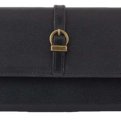 Most Wanted USA Slim Black Leather Wallet with Simple Geo Buckle