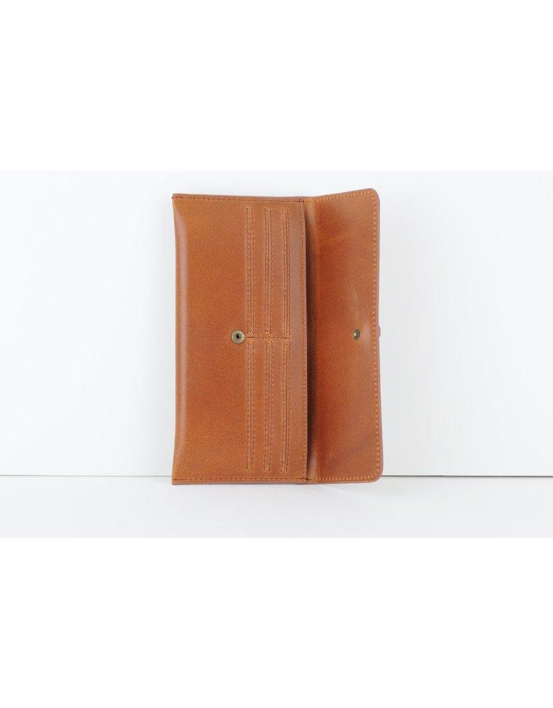 Slim Black Leather Wallet with Simple Geo Buckle